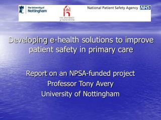 Developing e-health solutions to improve patient safety in primary care
