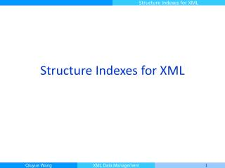 Structure Indexes for XML