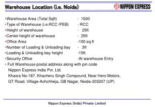 Warehouse Area (Total  Sqft )		 -  1500 Type of Warehouse ( i.e.RCC  /PEB)	 - RCC