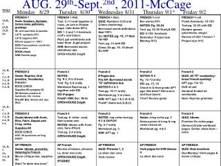 AUG. 29 th -Sept. 2nd , 2011-McCage