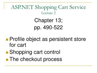 ASP.NET Shopping Cart Service Lecture 2