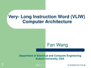 Very- Long Instruction Word (VLIW) Computer Architecture