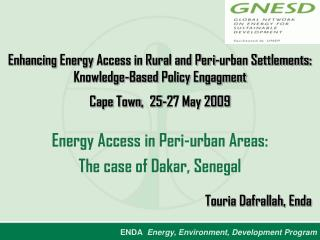 Energy Access in Peri-urban Areas: The case of Dakar, Senegal
