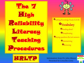 T he  7  H igh R eliability L iteracy T eaching P rocedures