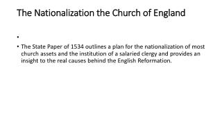The Nationalization the Church of England