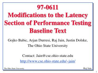 97-0611  Modifications to the Latency Section of Performance Testing Baseline Text