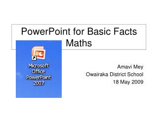 PowerPoint for Basic Facts Maths