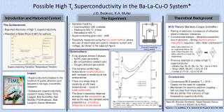 Possible High T c  Superconductivity in the Ba-La-Cu-O System* J.G. Bednorz, K.A. Muller