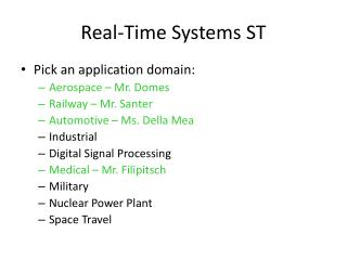 Real-Time Systems ST
