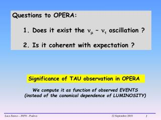Significance of TAU observation in OPERA