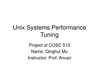 Unix Systems Performance Tuning