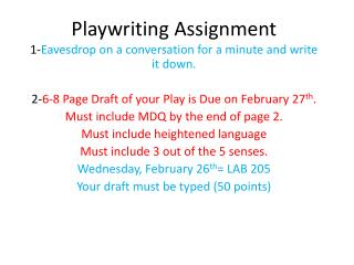 Playwriting Assignment
