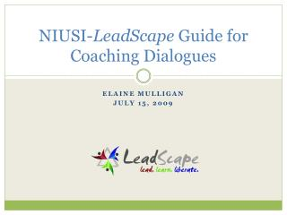 NIUSI- LeadScape  Guide for Coaching Dialogues