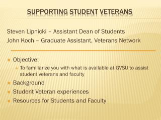 Supporting Student Veterans