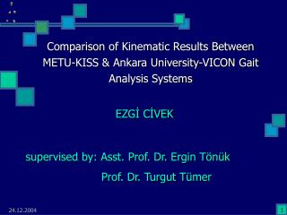 Comparison  o f Kinematic Results Between METU-KISS  &  Ankara University-VICON Gait Analysis Systems