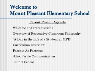 Welcome to  Mount Pleasant Elementary School