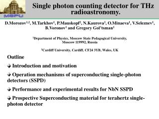 Single photon counting detector for THz  r adioastronomy .
