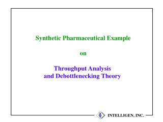 Synthetic Pharmaceutical Example on Throughput Analysis  and Debottlenecking Theory