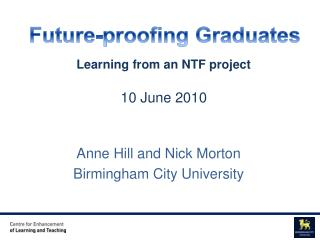 Anne Hill and Nick Morton Birmingham City University