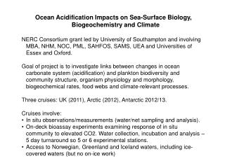 Ocean Acidification Impacts on Sea-Surface Biology, Biogeochemistry and Climate