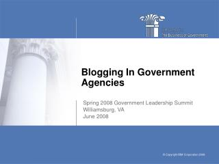Blogging In Government Agencies