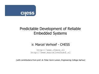 Predictable Development of Reliable Embedded Systems