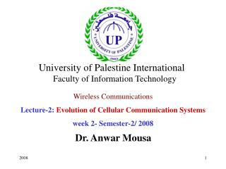 Wireless Communications Lecture-2:  Evolution of Cellular Communication Systems
