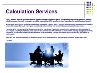 Calculation Services