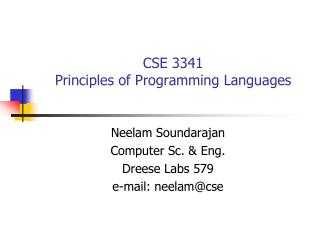 CSE 3341 Principles of Programming Languages