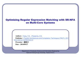 Optimizing Regular Expression Matching with SR-NFA on Multi-Core Systems