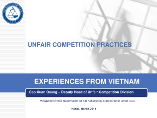 UNFAIR COMPETITION PRACTICES