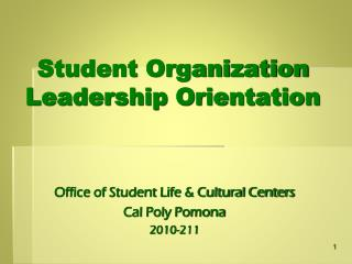 Student Organization Leadership Orientation