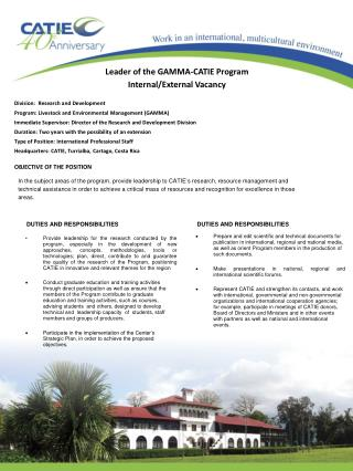 Leader of the GAMMA-CATIE Program Internal/External Vacancy