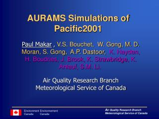 AURAMS Simulations of Pacific2001