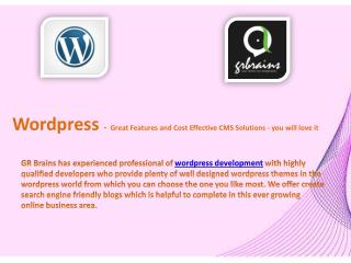 Wordpress - Great Features and Cost Effective CMS Solutions