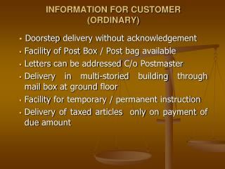 INFORMATION FOR CUSTOMER (ORDINARY)