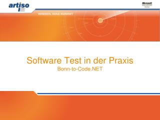 Software Test in der Praxis Bonn-to-Code.NET