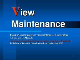 V iew Maintenance