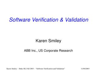 Software Verification & Validation