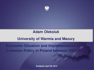 Adam  Oleksiuk University  of  W armia and Mazury