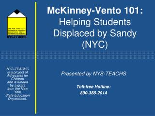 McKinney-Vento 101:  Helping Students Displaced by Sandy (NYC)