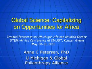 Global Science: Capitalizing on Opportunities for Africa