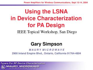 Using the LSNA  in Device Characterization  for PA Design