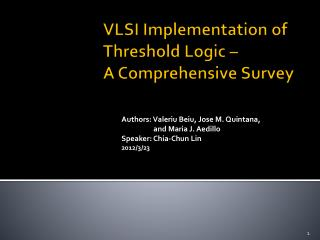 VLSI Implementation of Threshold Logic –  A Comprehensive Survey