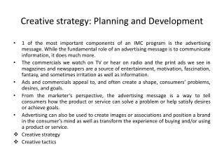 Creative strategy: Planning and Development