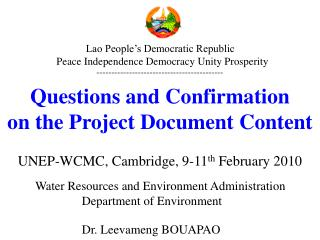 Water Resources and Environment Administration                Department of Environment