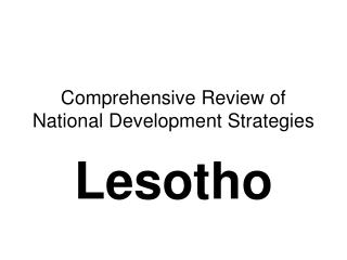 Comprehensive Review of National Development Strategies