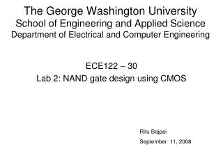 ECE122 – 30 Lab 2: NAND gate design using CMOS