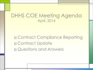 DHHS COE Meeting Agenda April, 2014