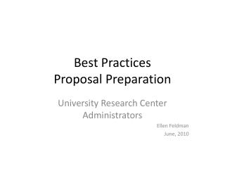 Best Practices Proposal Preparation